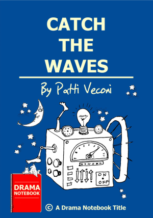 Catch the Wave.  Image of fun and unique robot machine on a blue background with the moon and stars.